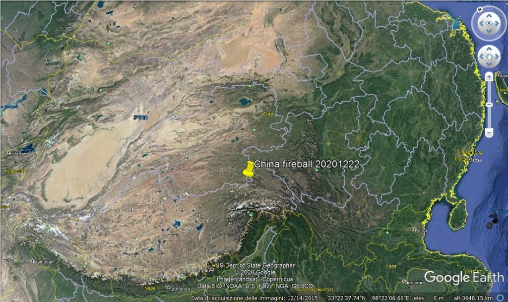 Mappa di Goole Earth che mostra il luogo dell'esplosione del bolide cinese del 22 dicembre 2020.